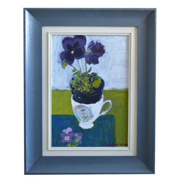 Image of Still Life Painting, 'Purple Pansies,' Deborah Windsor