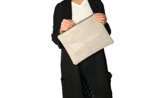 Image of Gloria Clutch In Grey Cork