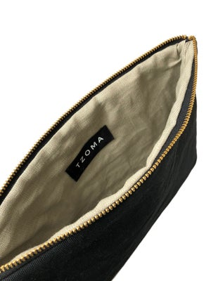 Image of Gloria Clutch In Black Waxed Canvas