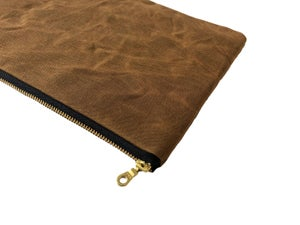 Image of Gloria Clutch In Brown Hand-Waxed Canvas