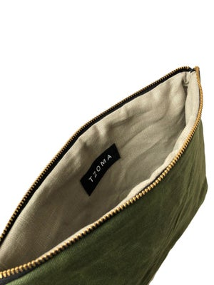 Image of Gloria Clutch In Olive Green Waxed Canvas