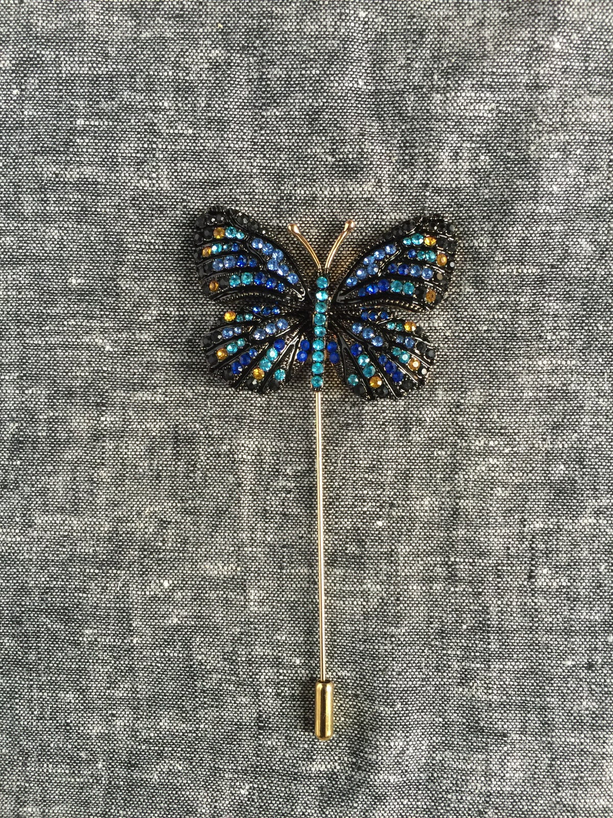 Image of Butterfly Lapel Pin (Blue/Black)