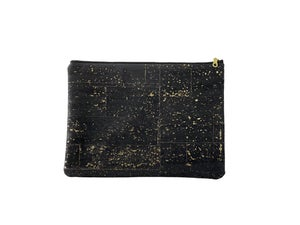 Image of Gloria Clutch In Black Cork With Gold Speckles