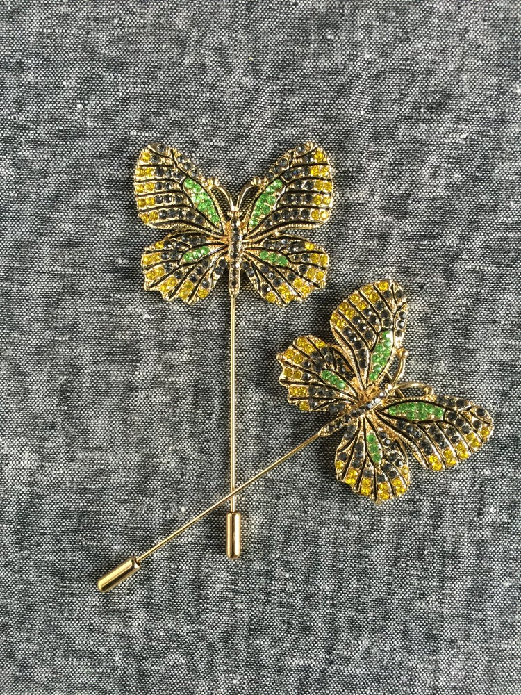 Image of Butterfly Lapel Pin (Yellow/Green/Black)