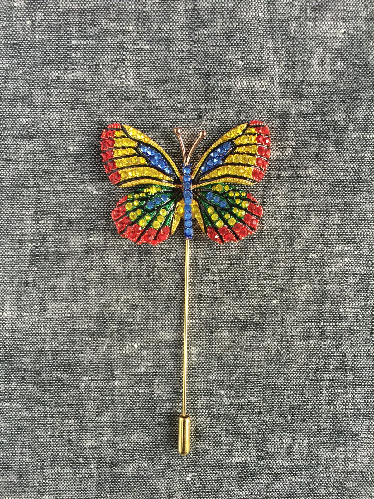 Image of Butterfly Lapel Pin (Red/Yellow/Blue)