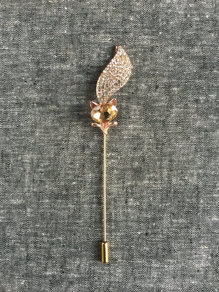 Image of Mini Fox Lapel Pin (Champagne)