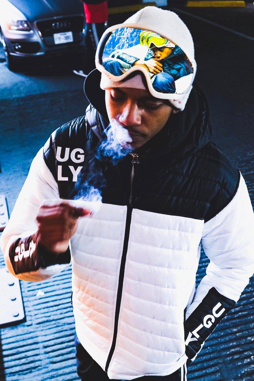 Image of White & black puffer jacket