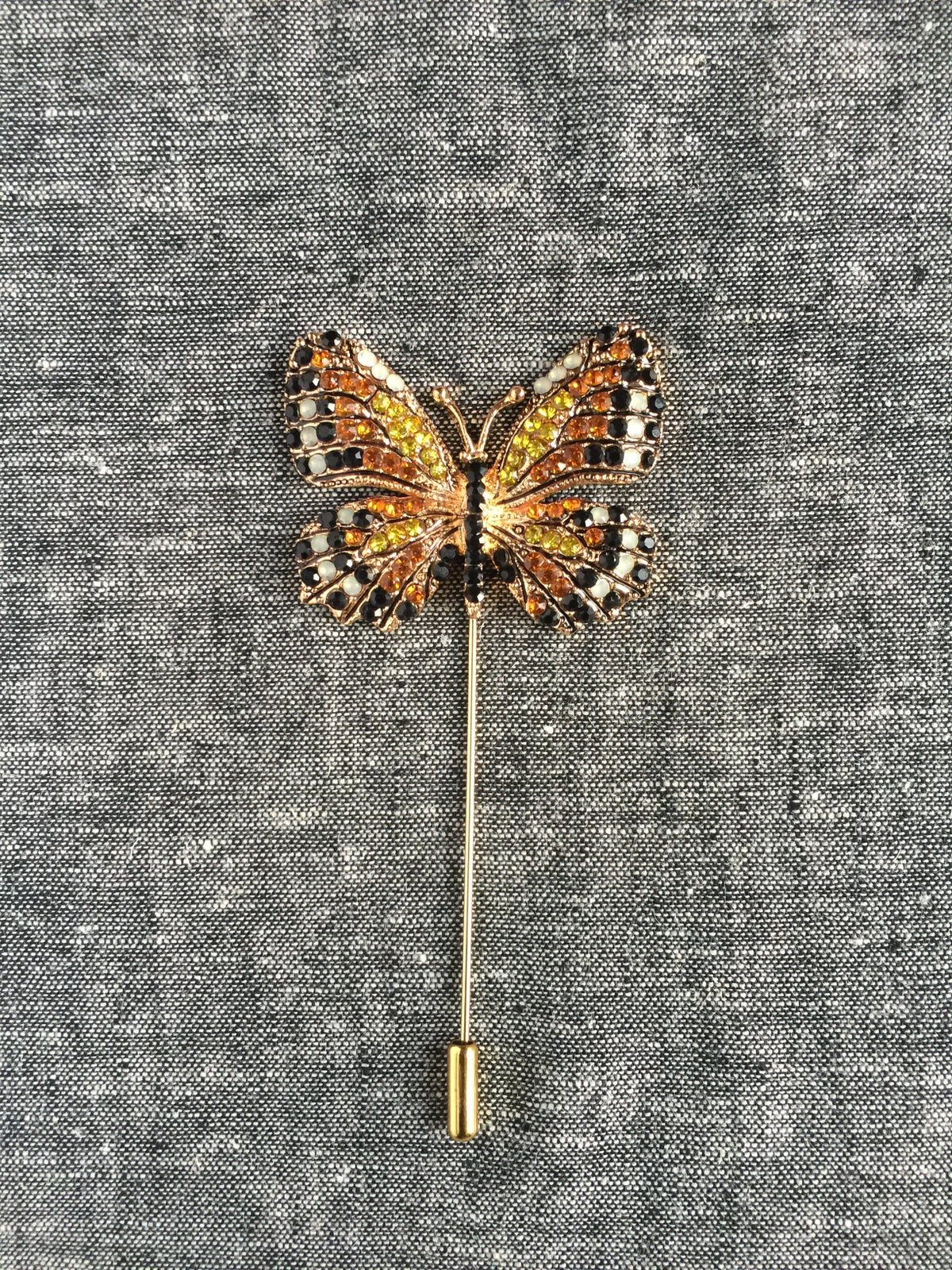 Image of Butterfly Lapel Pin (Orange/Black/White)