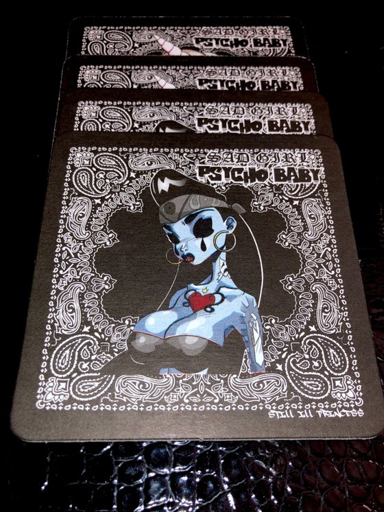 Image of 4 Double Sided Coaster Set. Psycho Baby/Sugar Pop