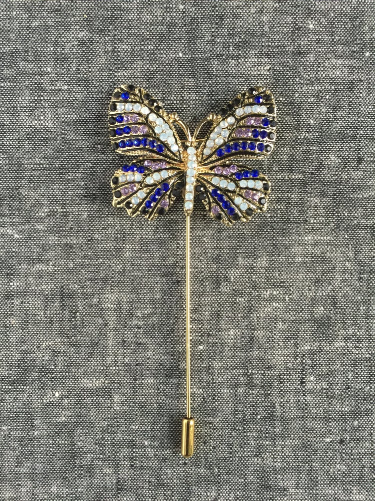 Image of Butterfly Lapel Pin (Blue/White/Black)