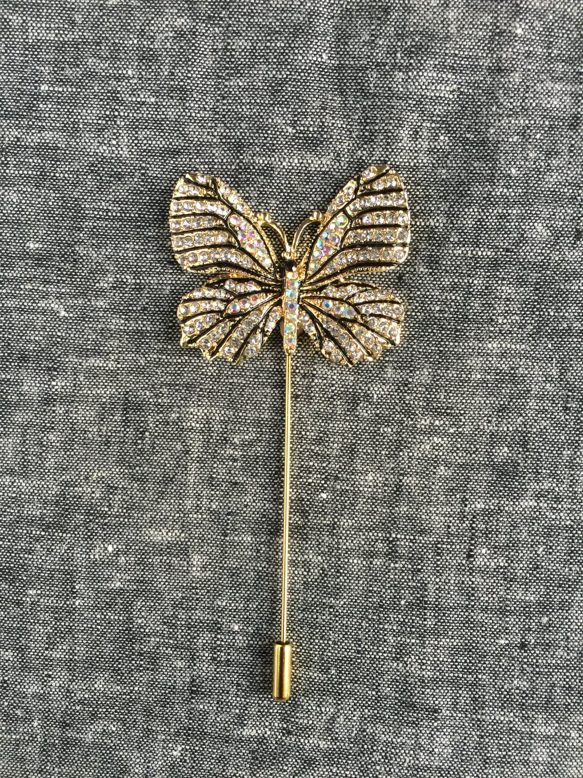 Image of Butterfly Lapel Pin (Gold Rhinestones)