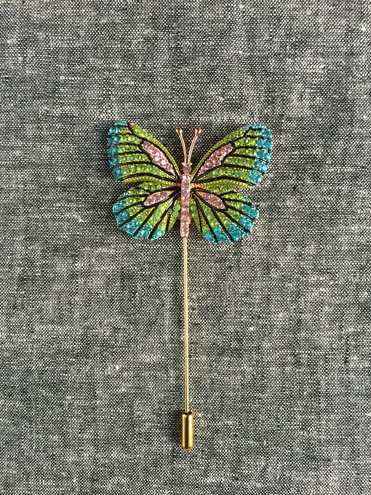 Image of Butterfly Lapel Pin (Green/Teal/Pink)