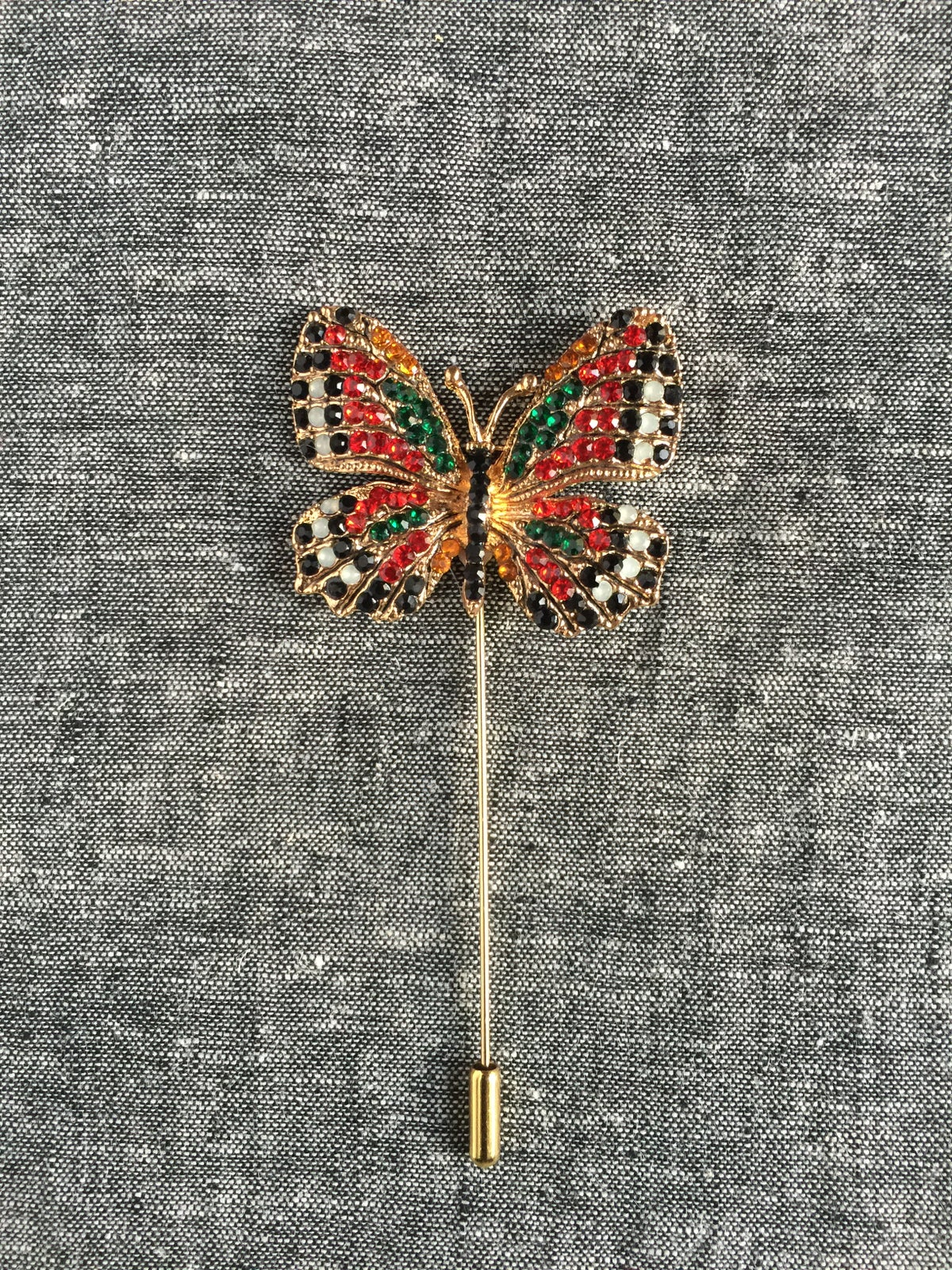 Image of Butterfly Lapel Pin (Black/White/Cherry)