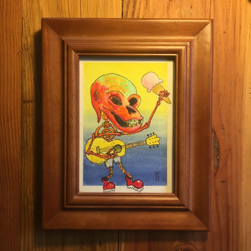 "Image of ""Ice Ceam Skeleton"" original 5x7 watercolor painting by Dan P"
