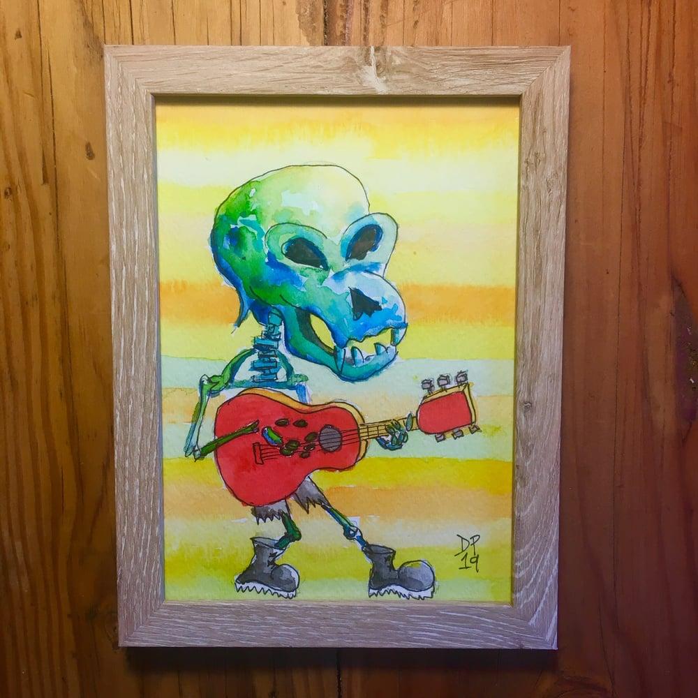 """Image of """"Skeleton Rocker 1"""" original watercolor painting by Dan P."""
