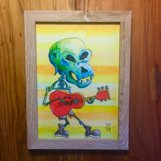 "Image of ""Skeleton Rocker 1"" original watercolor painting by Dan P."