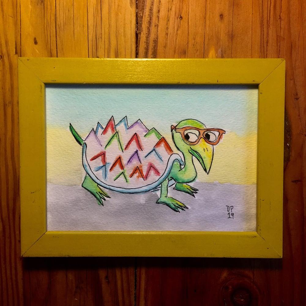 """Image of """"Glasses Turtle"""" original watercolor painting by Dan P."""