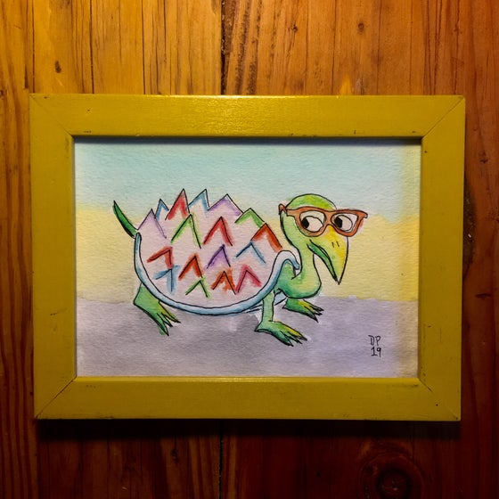 "Image of ""Glasses Turtle"" original watercolor painting by Dan P."