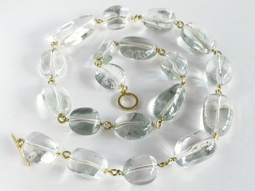 Image of Rock Crystal Nugget Necklace 18K Links