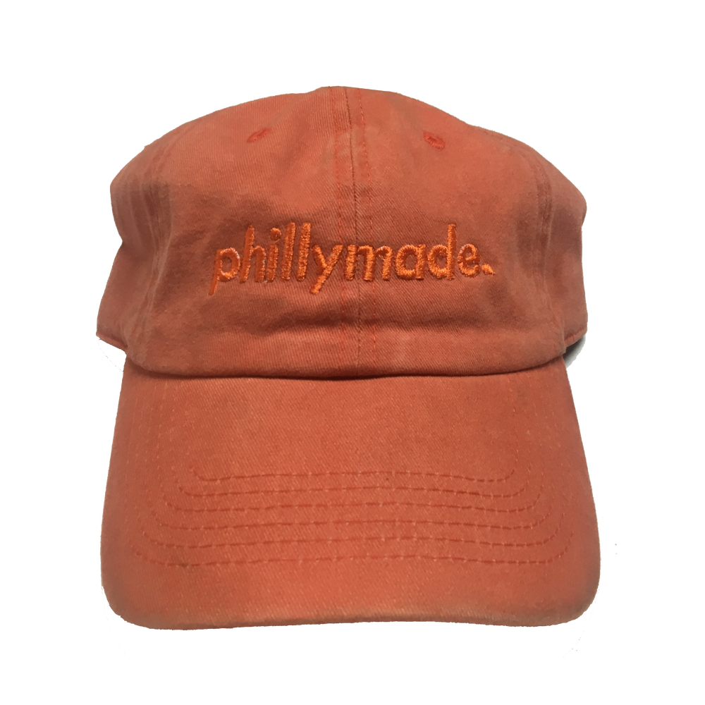 Image of phillymade. hat - orange vintage/faded unstructured dad hat