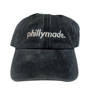 Image of phillymade. hat - black vintage/faded unstructured dad hat