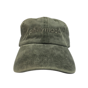 Image of phillymade. hat - faded green unstructured dad hat
