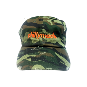 Image of phillymade. fatigue orange script hat