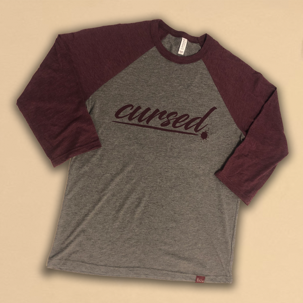 Image of cursed. baseball tee