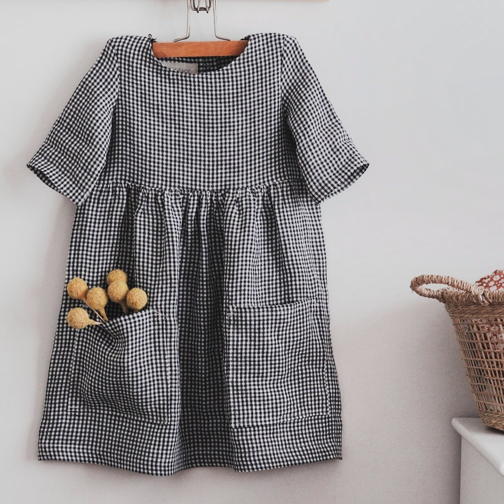 Image of Pocket Dress - Navy Gingham