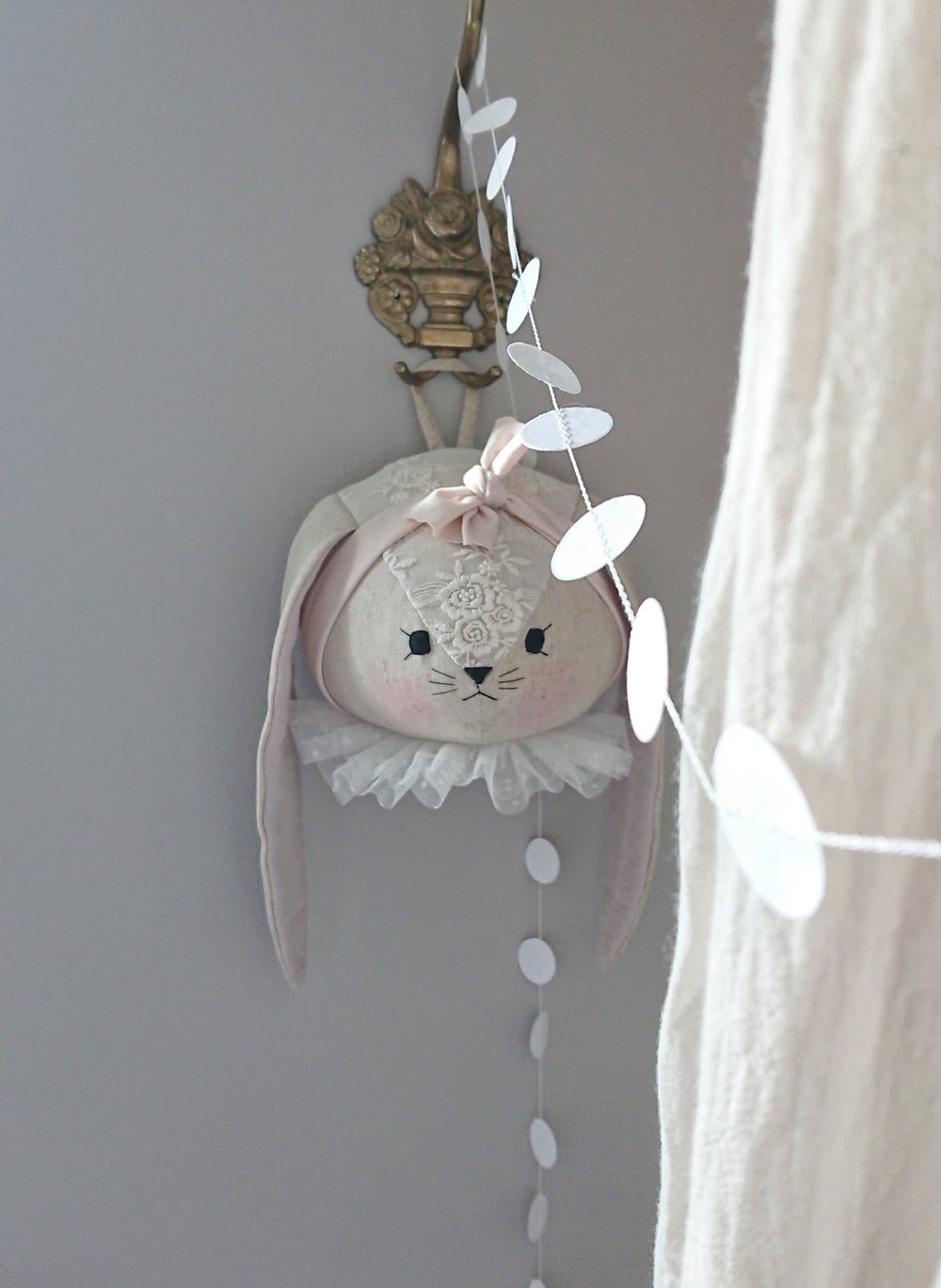 Image of Bunny wall head with lace details - made to order