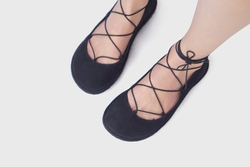 Image of Lace up ballet flats in Black Nubuck