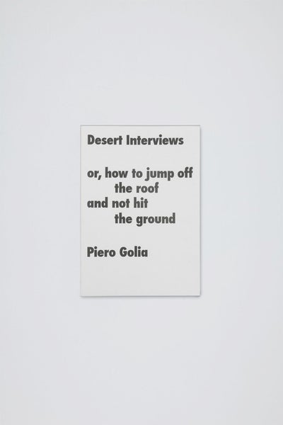 Image of Piero Golia - Desert Interviews or how to jup off the roof and not hit the ground