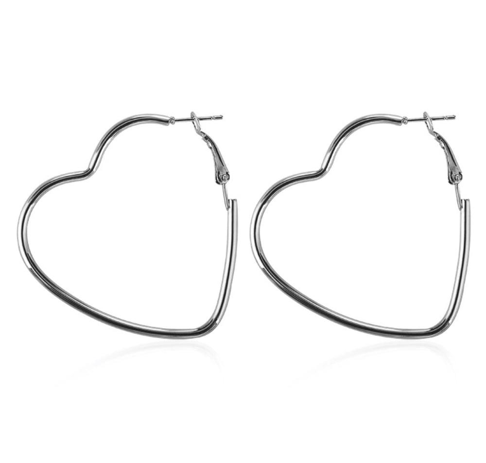 Image of Heart Hoop earrings (large)