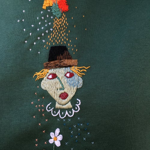 Image of Le cirque de mes pensées - original hand embroidery on organic cotton sweatshirt