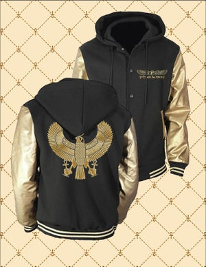 Image of PHARAONIC GOLD HRU BLACK_GOLD HOODED VARSITY JACKET