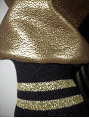 Image of PHARAONIC GOLD HRU BLACK & GOLD VARSITY JACKET