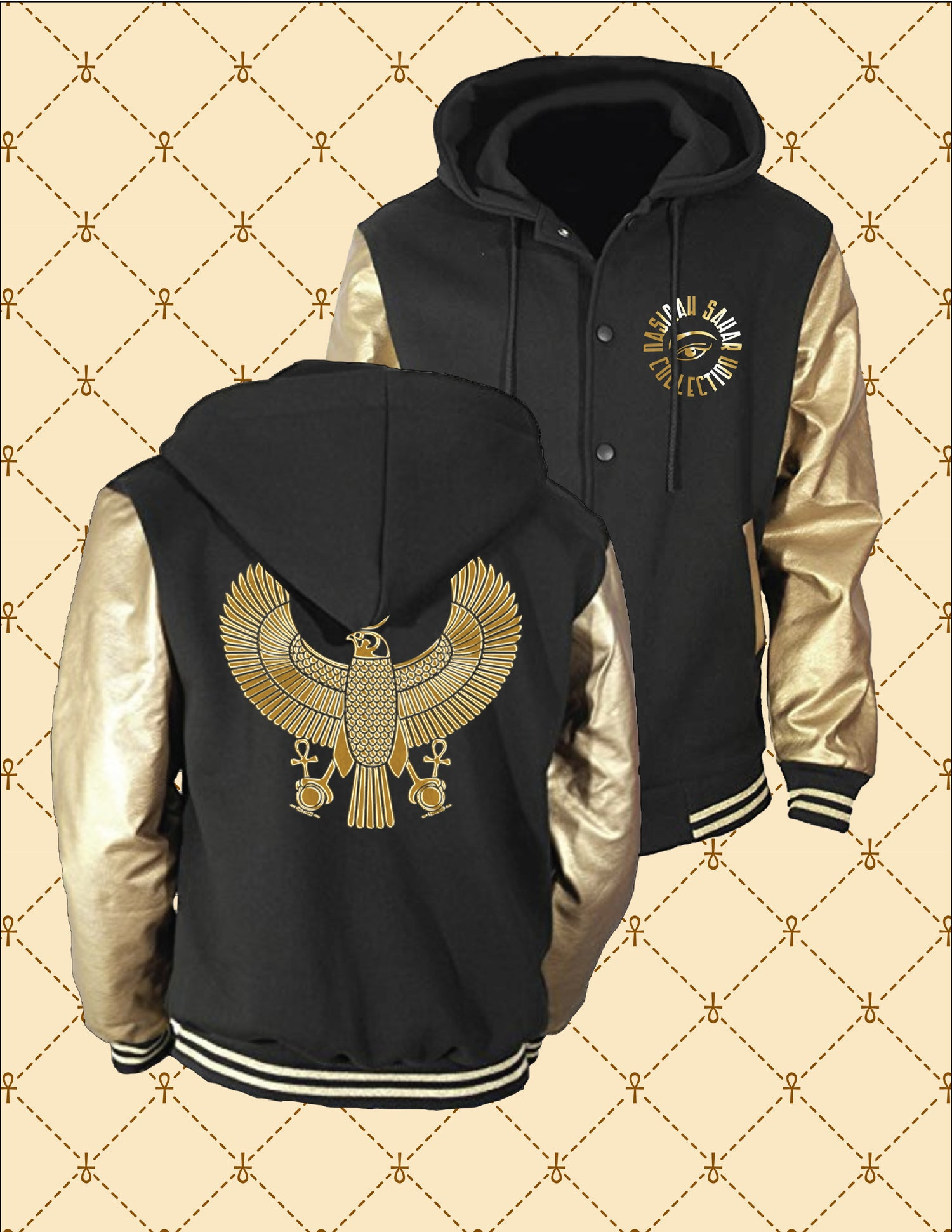 Image of NASIRAH SAHAR COLLECTION™  GOLD HRU BLACK & GOLD HOODED VARSITY JACKET