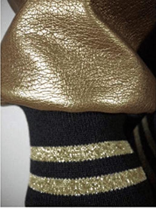 Image of NASIRAH SAHAR COLLECTION™  GOLD HRU BLACK & GOLD HOODED VARSITY JACKET