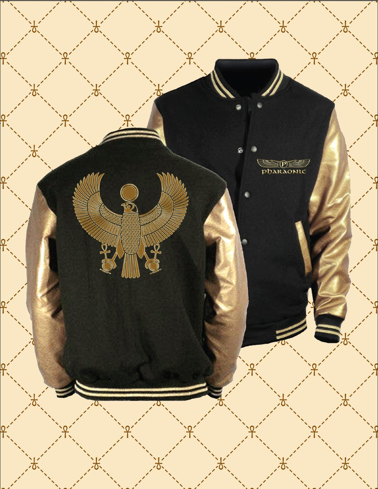 Image of PHARAONIC GOLD HRU BLACK & GOLD VARSITY JACKET
