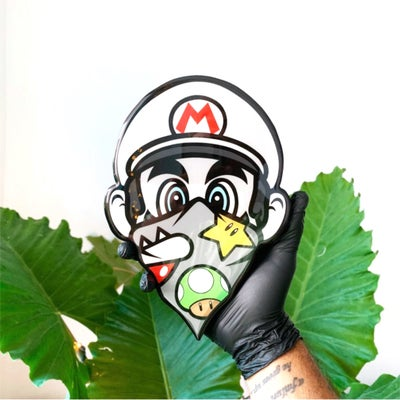 Image of 9.5 inch resin coated Mario wood print (in stock)
