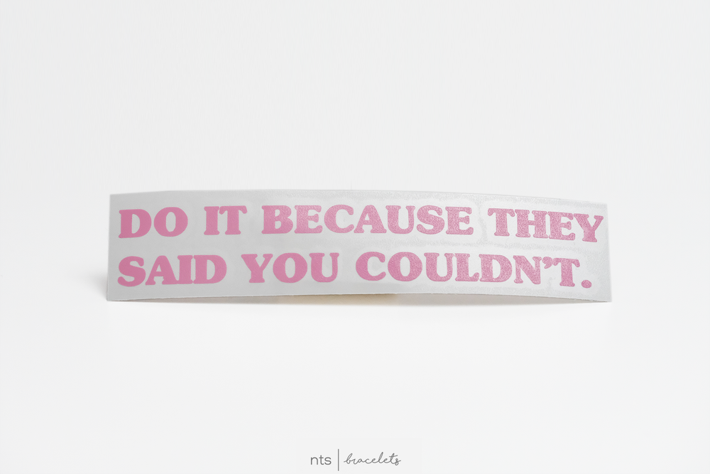 Image of DO IT BECAUSE THEY SAID YOU COULDN'T VINYL STICKER  (PINK)