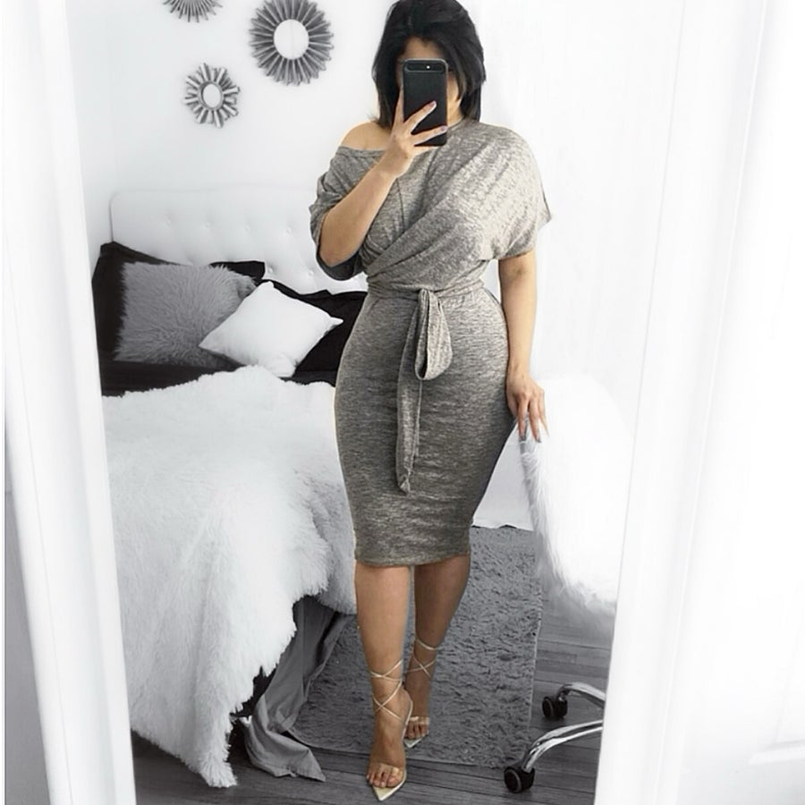 Image of Twist bow tie dress grey