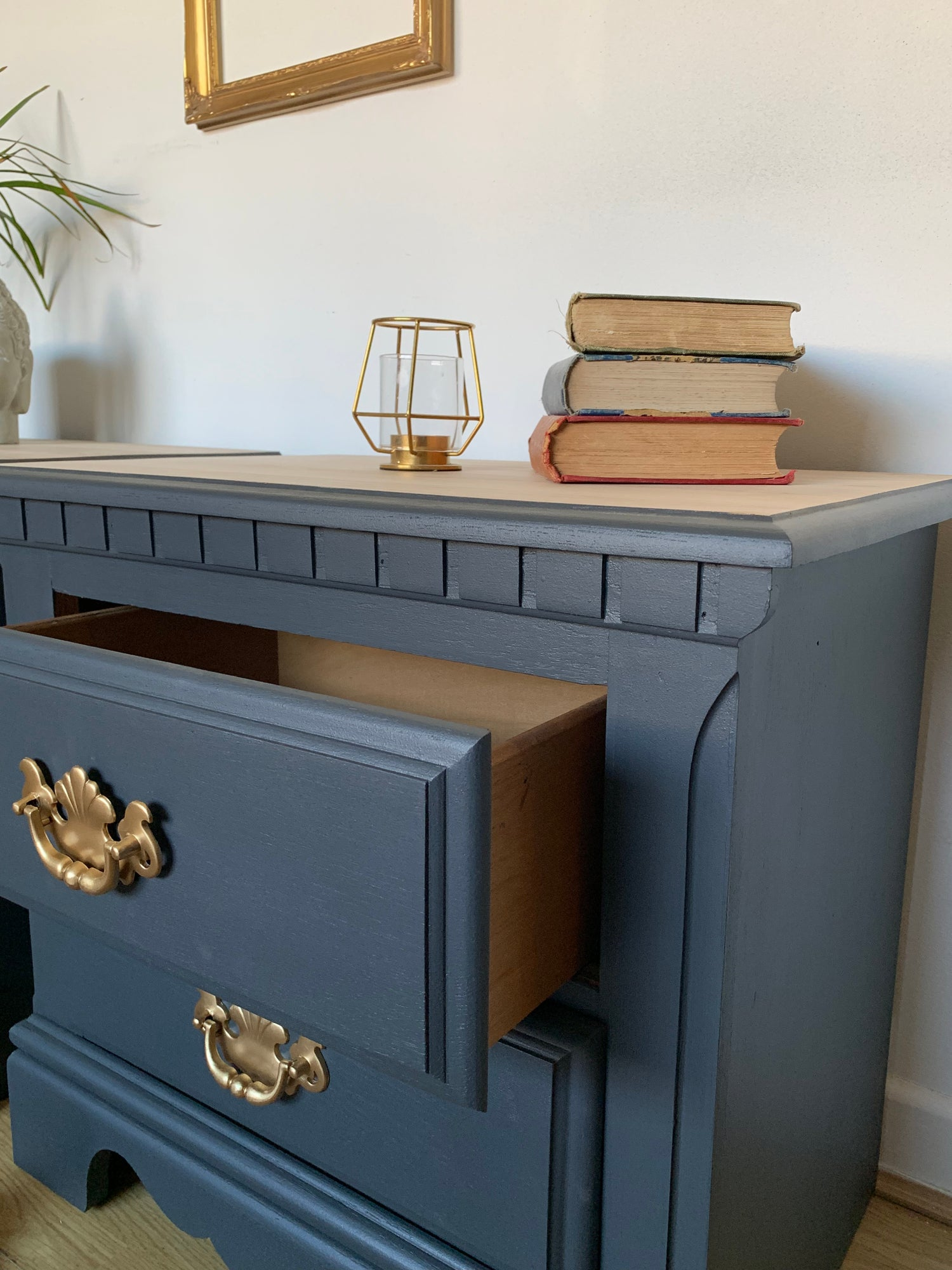 Image of A pair of dark grey bedside tables