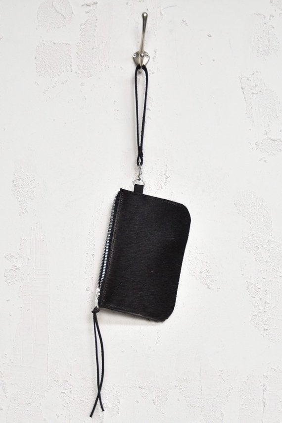 Image of All Black Cowhide Etui with YKK metal Zip