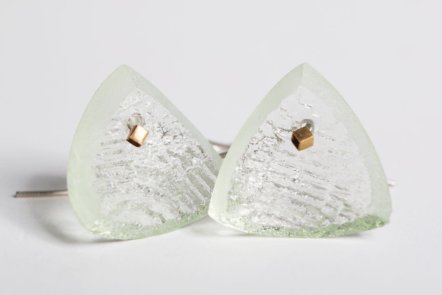 Image of 'Inside the Print' Geometric CAST Glass earrings with Sterling silver drop.