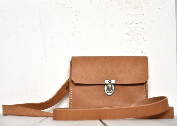 Image of Small Camel Tone Leather Handbag