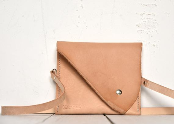 Image of Small Nude Leather Handbag, Flat Constructed Vegtan Bag