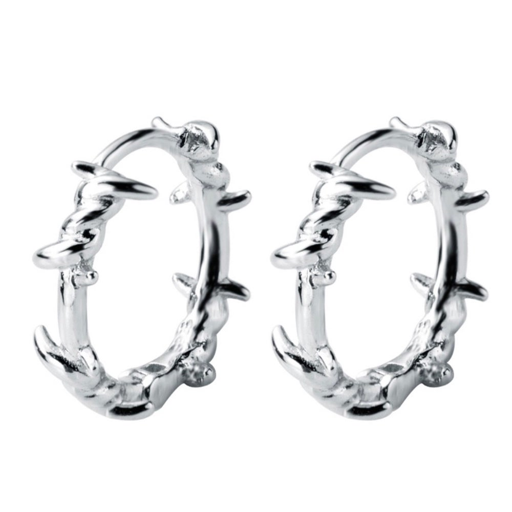 Image of Barb barbed wire snug hoop earrings (sterling silver)