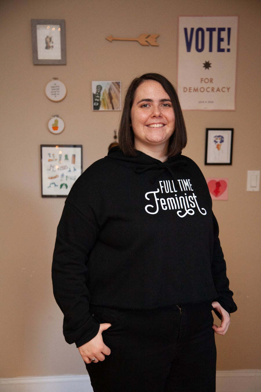 Image of full time feminist cropped hoodie
