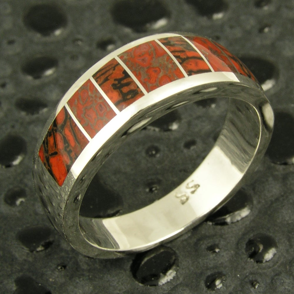 Image of Gem dinosaur bone inlay ring in sterling silver